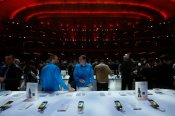 Samsung Electronics Co's latest Galaxy S4 phones are displayed after its launch at the Radio City Music Hall in New York
